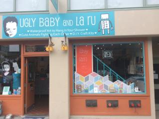 Window display of Ugly Baby and La Ru for Etsy Craft Party 2015