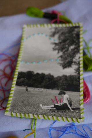 We also embroidered on vintage photographs supplied by Ephemera Obscura on Etsy.